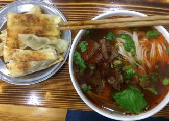Beef noodle soup with guo tie (fried dumplings)