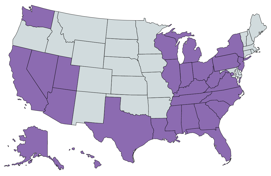 US States Map as of 2020